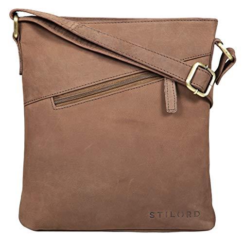 STILORD 'Stella' Vintage Handtasche Damen Leder klein zum Umhängen Schultertasche für Freizeit Shopping Abend Tablettasche Echtleder, Farbe:Austin - braun
