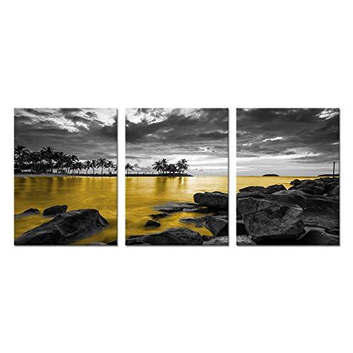 Artsbay 3 piezas de arte de pared en blanco y negro con paisaje dorado y atardecer en el mar de oro, cuadros de mar, cuadros de playa,...