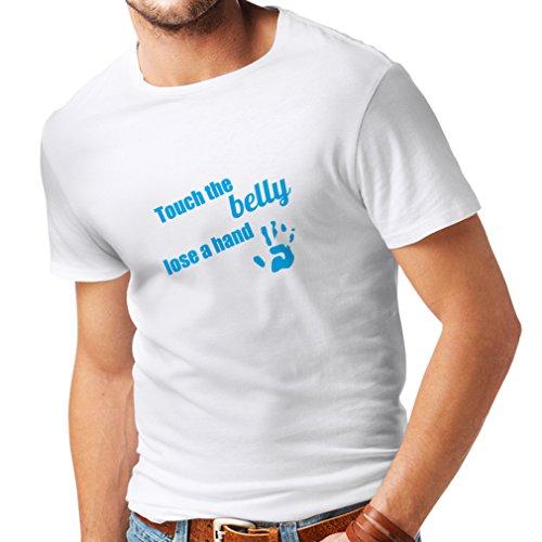 Camiseta unisex N4099 tocando el vientre blanco y azul XXXXXL