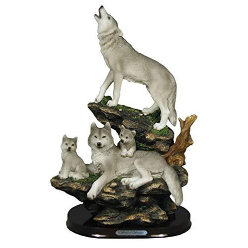Indian Handicrafts Wolf Family On Rocks Sculpture