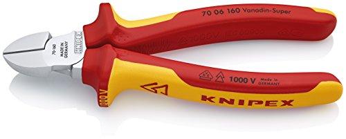 KNIPEX 70 06 160 Seitenschneider verchromt isoliert mit Mehrkomponenten-Hüllen, VDE-geprüft 160 mm