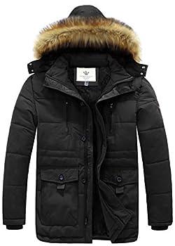 WenVen Men s Hooded Warm Coat Winter Parka Jacket  Black Large