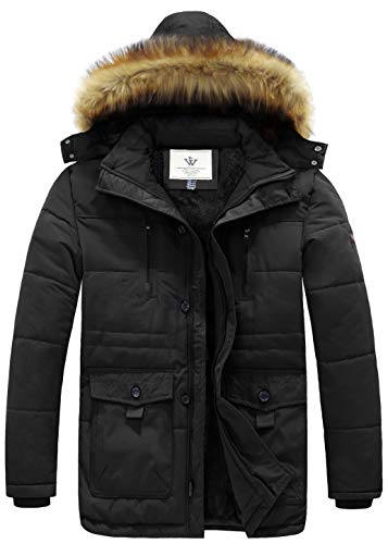 WenVen Men's Hooded Warm Coat Winter Parka Jacket (Black, Medium)