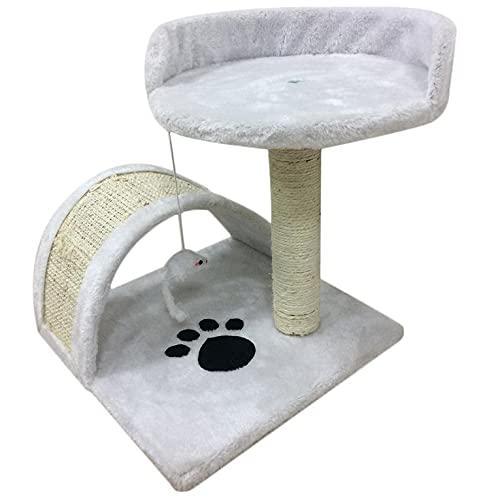 Rascador resistente para gatos, centro de actividad, cama, juguete, 37 cm, de madera y cubierta con alfombra