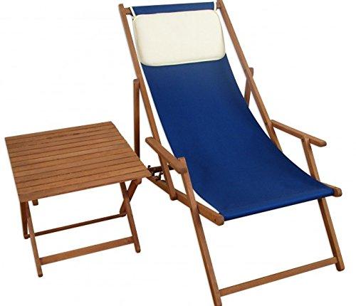 Erst-Holz Gartenliege blau Liegestuhl Tisch Kissen Sonnenliege Strandstuhl Deckchair Buche 10-307 T KH