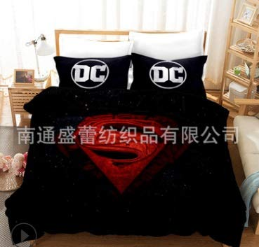 Vampsky DC Detective Comics superhéroe de Cama temático Cabritos de los Sistemas Club Super Suave de Lujo de 3 Piezas de tamaño Doble en el clásico Conjunto de diseño Ropa de Cama - la Funda nórdica,