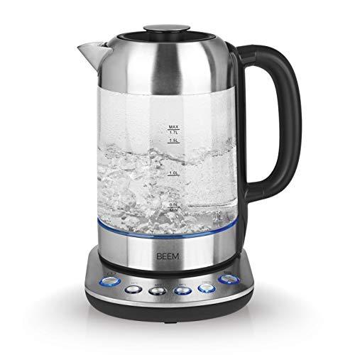 BEEM TEATIME II Wasserkocher mit Temperatureinstellung - 1,7 L | Edelstahl & Glas | Teekocher | LED Beleuchtung | Optional erhältliches Teesieb