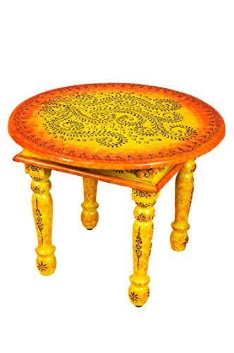 Marokkanischer Wohnzimmertisch Couchtisch aus Holz Chajra 60cm   Vintage Tisch aus Holz mit Bemalung verziert für Ihre Wohnzimmer   Niedriger Orientalischer Sofatisch Holztisch Bunt