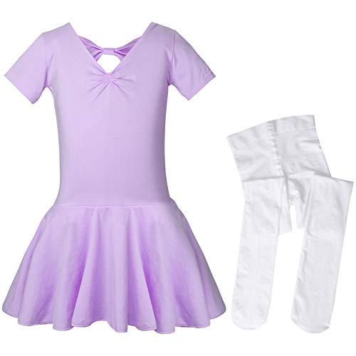 SANMIO Mädchen Ballettkleid+Ballett-Strümpfe Kinder Ballettanzug Tütü Ballett Trikot Turnanzug Kurzarm Ballettkleid mit Röckchen 7 Farben (2-14 Jahre)
