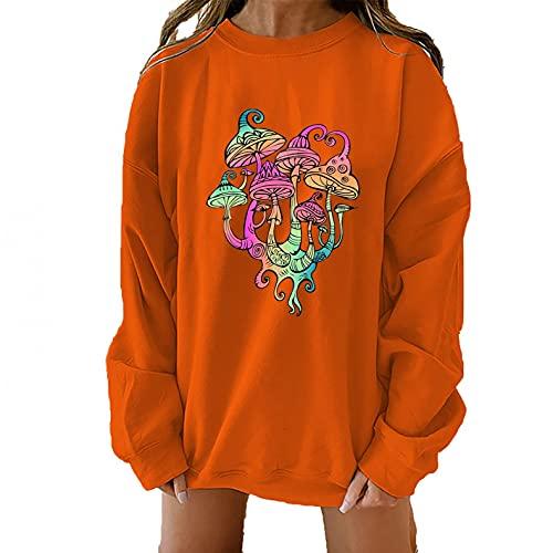 NHNKB Sudadera para mujer de manga larga, jersey de punto fino, para otoño e invierno, gran tamaño, suelta, blusa, túnica, cuello redondo, setas, multicolor, naranja, XXL