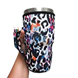 30oz Pocketed Handler fits Shaker Bottles and 30oz Tumblers, patent pending (Watercolor Leopard)