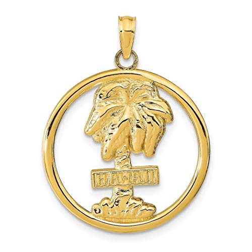 Collier avec pendentif palmier hawaïen en or 14 carats
