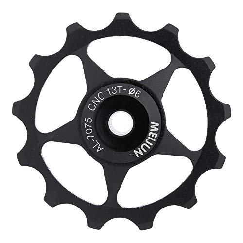 Yosoo Health Gear Bike Guide Wheel, 11T/13T Durable Aluminium Alloy Bearing Jockey Wheel Rear Derailleur for 4, 5, 6mm Spindle Shaft Rollers(13T-Black)