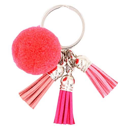 YueLian Schlüsselanhänger aus Kunstfell Fellbommel Keychain Pompon Anhänger Quaste Geburtstagsgeschenk Taschenanhänger(Wassermelone rot)
