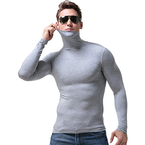 YiLianDa Hombres Camiseta Térmica De Cuello Alto Y Vuelto Manga Larga Camiseta Deportiva con Tecnología De Regulación Térmica