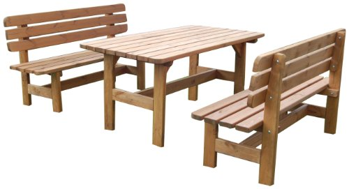 GASPO Gartenmöbel-Set Kitzbühel | Tisch & Zwei Bänke aus massivem Kiefernholz | ideal für Garten und Terasse