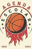 Agenda Escolar 2021-2022 baloncesto: Agendas 2021-2022 dia por pagina   Planificador diario para niñas y niños   Material escolar colegio secundaria estudiante   Portada basket ball