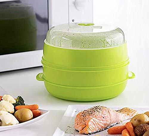 InnovaGoods Vaporera Doble para Microondas Fresh, Verde, 22