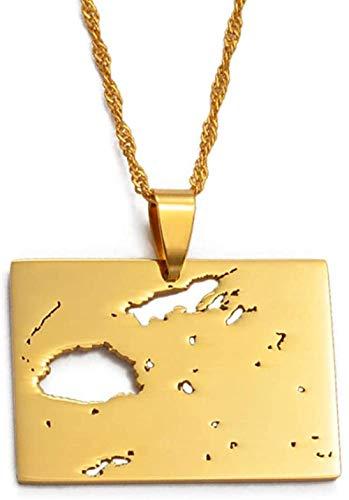 BACKZY MXJP Halskette Fidschi Country Map Anhänger Halskette Gold Farbe Schmuck Karten Von Viti Geschenke 60Cm