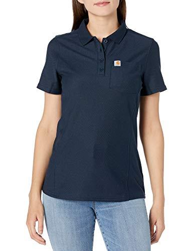 Carhartt Short Sleeve Polo Camisas, Navy, Medium para Mujer