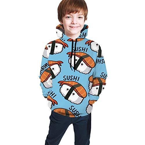 Voxpkrs Onigiri und Sushi Muster Unisex Kids 3D Graphic Hooded Sweatshirt Cool Pullover