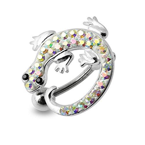 Regenbogen Crystal Stein Bunte Lizard Design Sterling Silber Bauch Szenekneipen Piercing