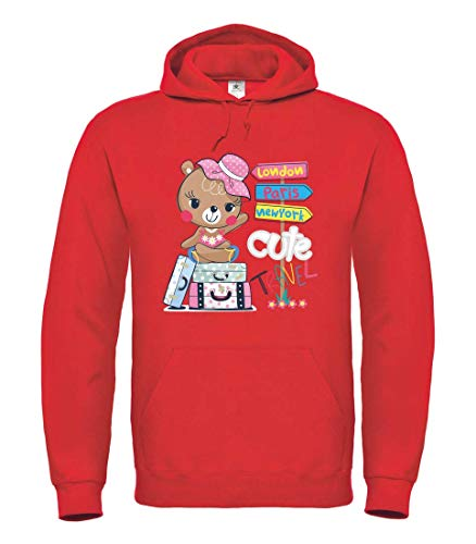 Sudadera con capucha – Oso de peluche dibujos animados maleta de viaje – Sudadera unisex para niños – niño y niña rojo 6 años