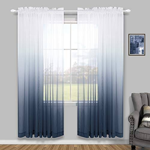 Navy Blue Curtains 96 Inches Long for Living Room Set of 2 Pack Rod Pocket Window Faux Linen Semi Sheer Ombre Navy Curtains for Teen Bedroom Dad Gift 52x96 Inch Length