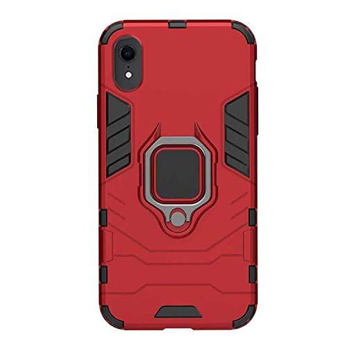 Funda iPhone X/XS/XR/XS MAX Carcasa Silicona Suave Negro TPU y Duro PC Case Anti-Arañazos, con Anillo Grip Kickstand y Soporte la función de Montaje teléfono Case (iPhone XR, Rojo)