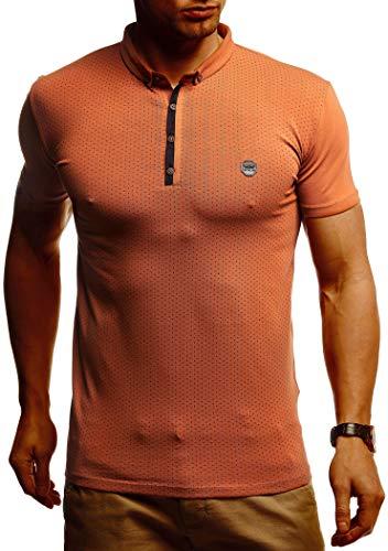 Leif Nelson Herren Sommer T-Shirt Polo Kragen Slim Fit Baumwolle-Anteil Basic Rot Braunes Männer Poloshirts Longsleeve-Sweatshirt Kurzarm Weißes Kurzarmshirts lang LN1295 Rot Braun Large