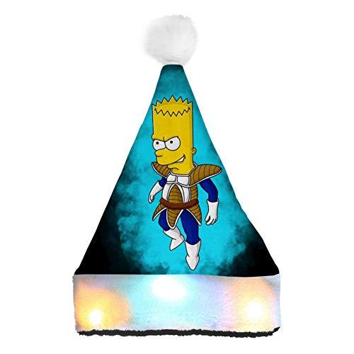 WeiTao Bar-t Simp-Son - Sombreros de Pap Noel con luces LED de colores para disfraz de Navidad clsico para nios y adultos