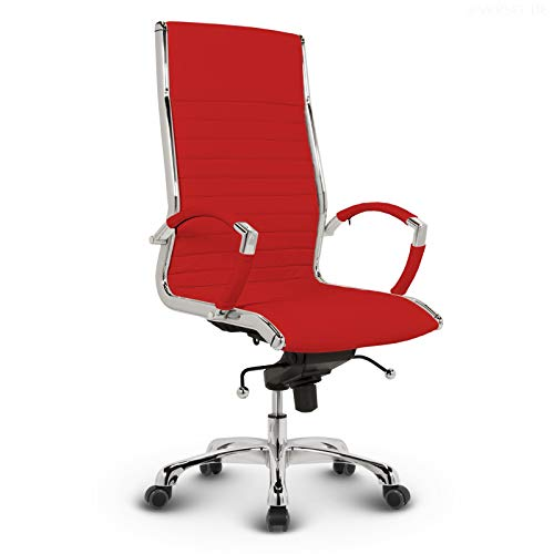 VERSEE Design Bürostuhl Chefsessel Montreal - Echt-Leder - rot -Drehstuhl, Bürodrehstuhl, Schreibtischstuhl, Chefstuhl, Designklassiker, hochwertige Verarbeitung, Stuhl, 150 kg belastbarkeit