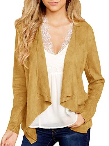 Tutorutor Damen Strickjacke aus leichtem Velourslederimitat, vorne offen, rau geschnitten, Kurze Jacken, Mantel - Gelb - Groß