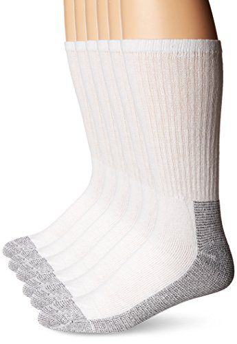 Fruit of the Loom Men's 6 Pack Heavy Duty Reinforced Cushion Full Crew Socks, White, Shoe Size: 6-12
