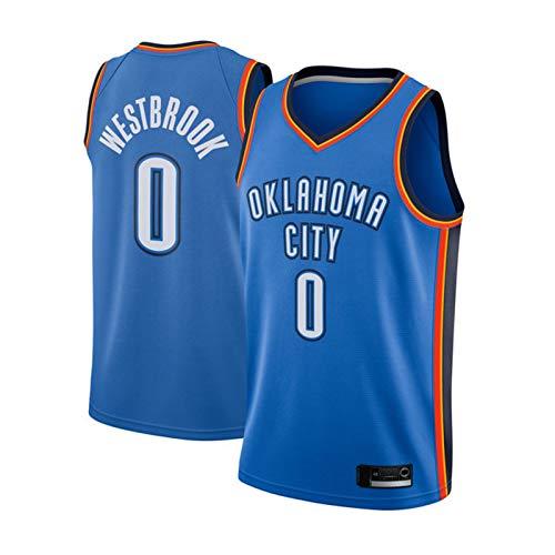 GGLL OKC Thunder Team #0 Russell Westbrook - Camiseta de baloncesto sin mangas para hombre, camiseta de baloncesto sin mangas, malla transpirable bordada, color azul