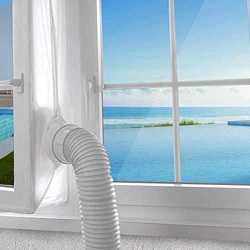 AGPTEK 400CM Aislamiento Ventanas para Aire Acondicionado Móvil y Secadora, Sello de Ventanas Impermeable, Anti UV, Anti-Mosquitos, con Dual Cremallera