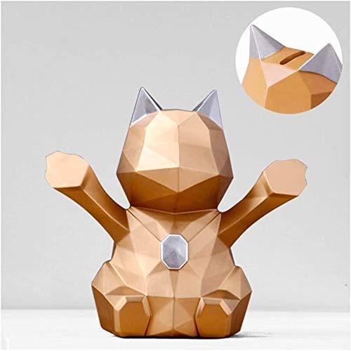 BBGSFDC Hucha geométrica tridimensional para gatos de la suerte hecha a mano de resina para gatos, para decoración de escritorio, regalo para la hucha (color: dorado, tamaño: pequeño)