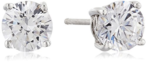 Platinum Plated Sterling Silver Stud Earrings set with Round Cut Swarovski Zirconia (2 cttw)