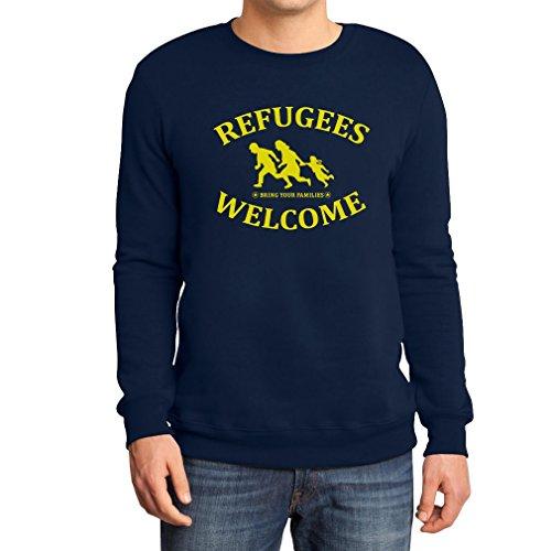 Refugees Welcome Bring Your Families - Flüchtlinge Sweatshirt Medium Marineblau