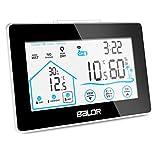 Newentor Wetterstation Funk mit Außensensor, Digital Thermometer-Hygrometer für Innen und außen, Hintergrundbeleuchtung und aktuelle Uhrzeit, schwarz