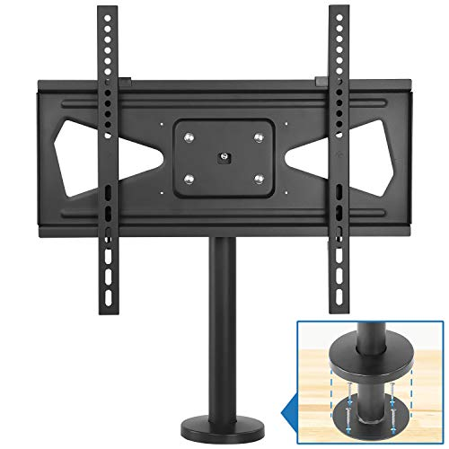 Mount-it! Bolt Down TV Stand | Heavy Duty Swivel Table Top TV Mount for Screens 32' - 55' | Desktop TV VESA Mount with Swivel | Steel, Black