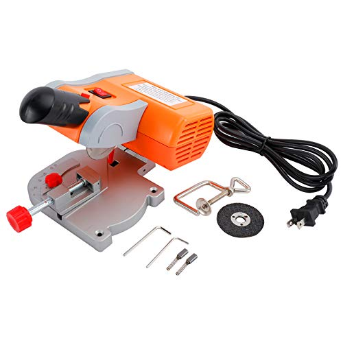YaeKoo 110V Mini Bench Top Cut-off Miter Saw with Miter Gauge 2 Blade for Metal Wood Plastic Arts & Crafts Cutting