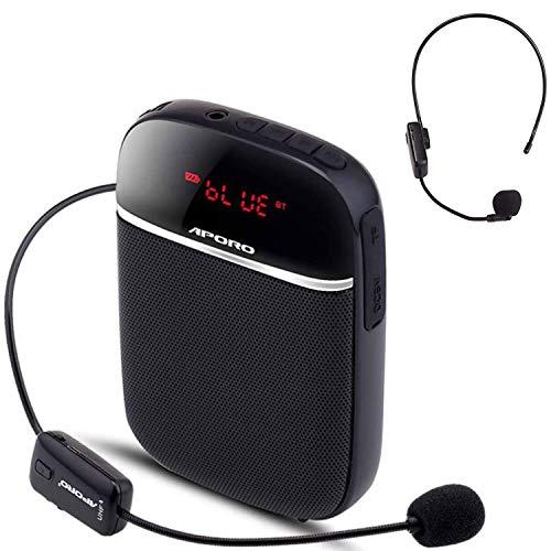 Siebwin Amplificador de voz Bluetooth portátil, Mini Amplificador de Voz con Microfono Inalambrico -10 W 2000 mAh, con 2 Microfono, para maestros, guías turísticos