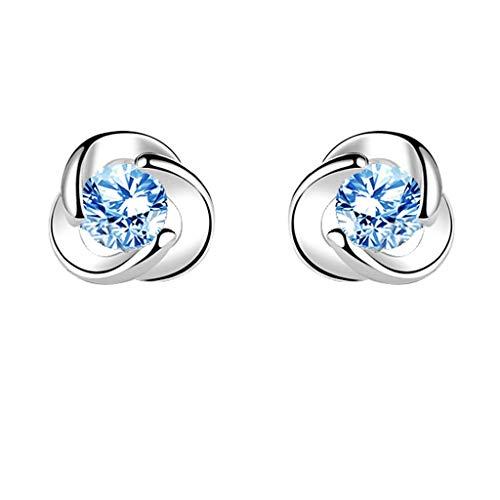 WENMENG2021 Pendientes de Diamantes Pendientes de Plata de Ley Pendientes de Plata del aro del Oro Blanco 18K de Las Mujeres Pendientes de Ley Pendientes Colgantes