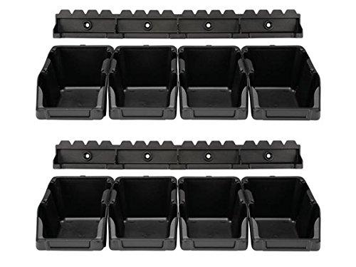 Perel Omsb10Lot de boîte de rangement en plastique/103mm x 165mm x 75mm Dimensions, Noir (Lot de 8)