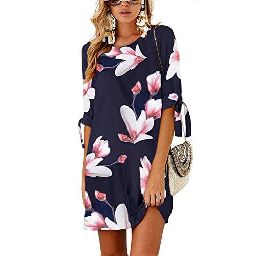 CLOUSPO Casual Mini Robe pour Femme Été Chic Col Rond Casual Chemise Petite Robe à Manche Mi-Longue (Bleu, L)