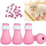 Osuter 4PCS Protezione Zampe di Gatto Silicone Scarpe Gatto con 20PCS Copertura Unghie di Gatto per Bagno Toelettatura Trattamento