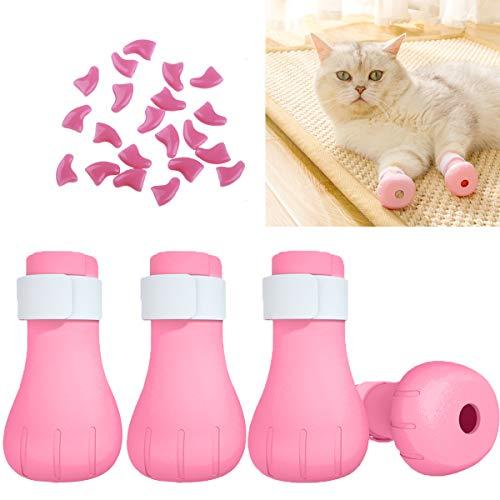 Osuter 4PCS Zapatos Mascotas y 20PCS Tapas Uñas Gato Silicona Suave Zapatos de Baño Gatos para Ducha Limpieza de Orejas Corte de Unas Alimentacion de Medicamentos