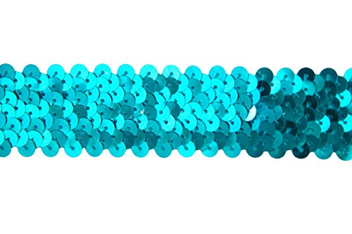 """Threadart Stretch Sequin Trim Roll - 1"""" Wide 11yd Length - Aqua - Available in 18 Colors - 2 Widths"""
