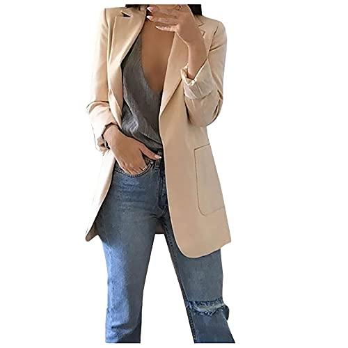 Damen Mantel Jacke Outwear Elegante Parka Cardigan Schlank Frauen Solid Open Front Pockets Cardigan Abendanzug Langarm Bluse Trenchcoat